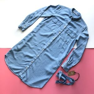 Mango Lyocell Belted Denim Dress fits S or M